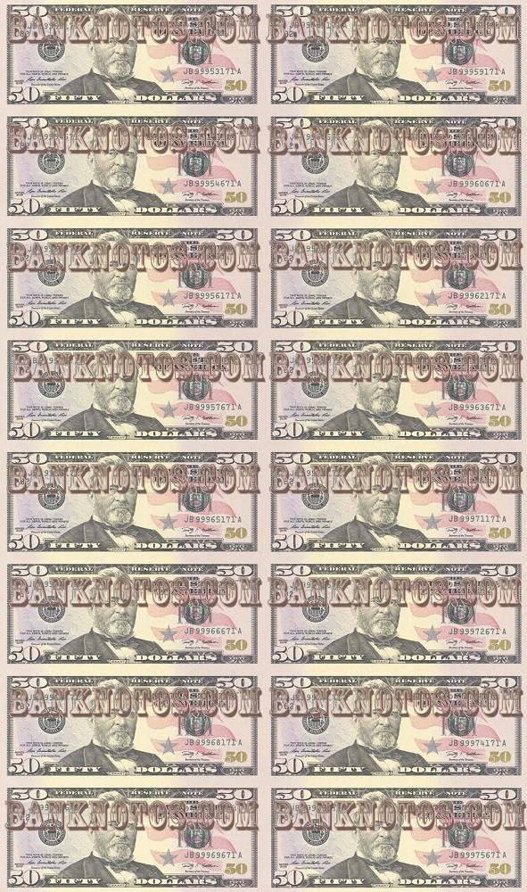 Лист 50 USD 16 штук