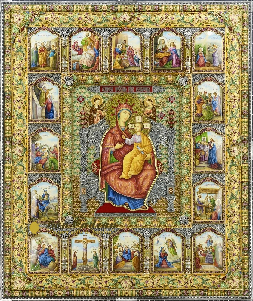 Золотая икона с житием (63 на 52 см)