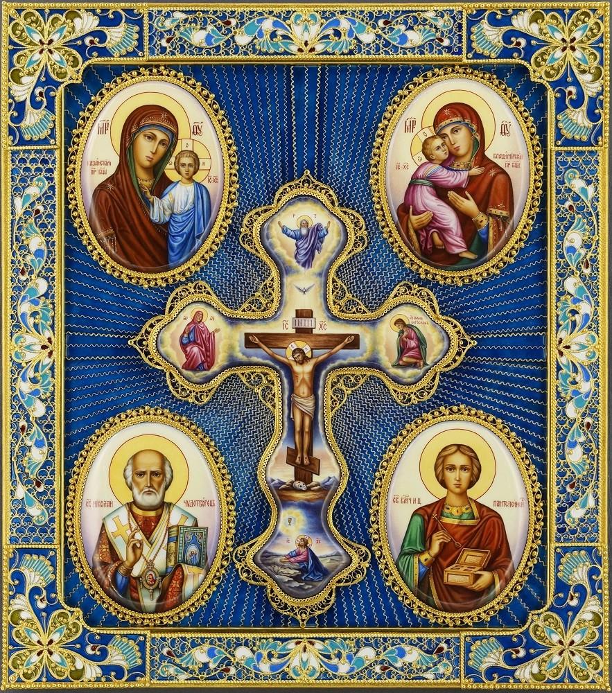 Четырехчастная икона (Богоматери, Николай, Пантелеймон)