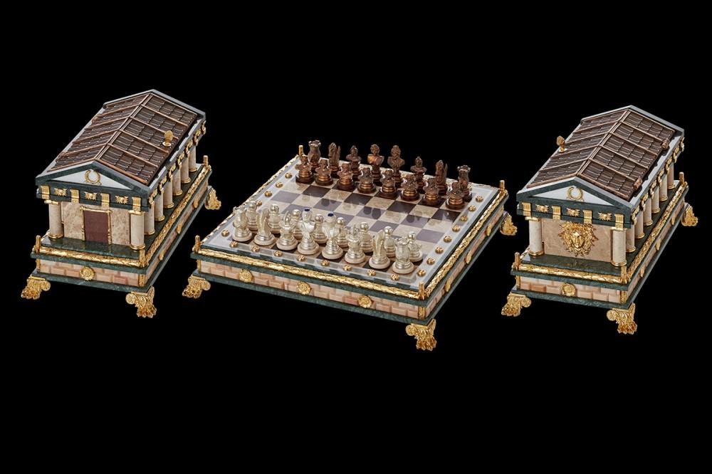 Шахматы с храмом (бронза, мрамор)