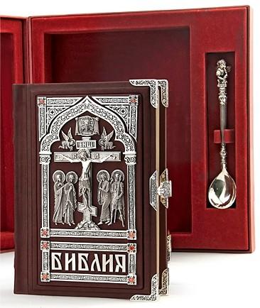 Крестильный набор -серебро (Библия и ложечка)
