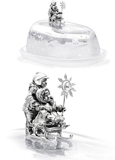 Масленка Дети на санках (хрусталь, серебро)