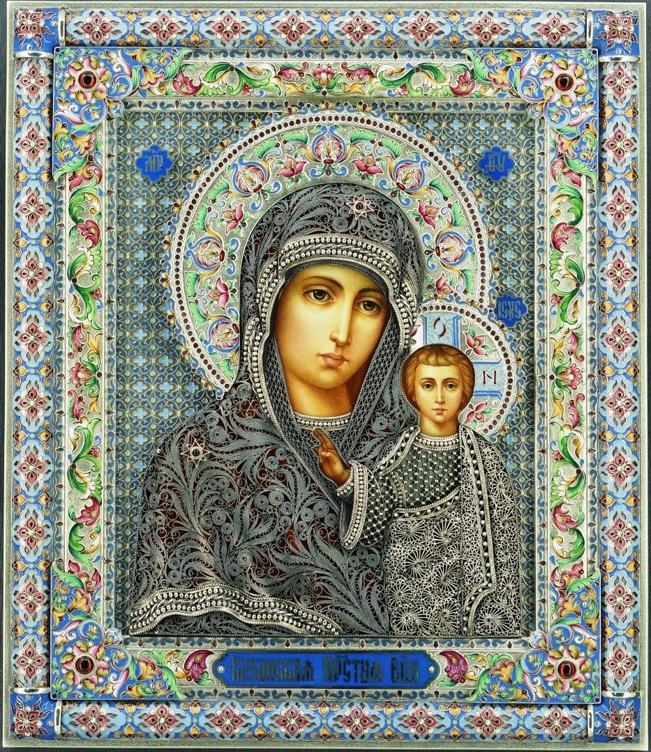 Икона Казанская с филигранью в серебре