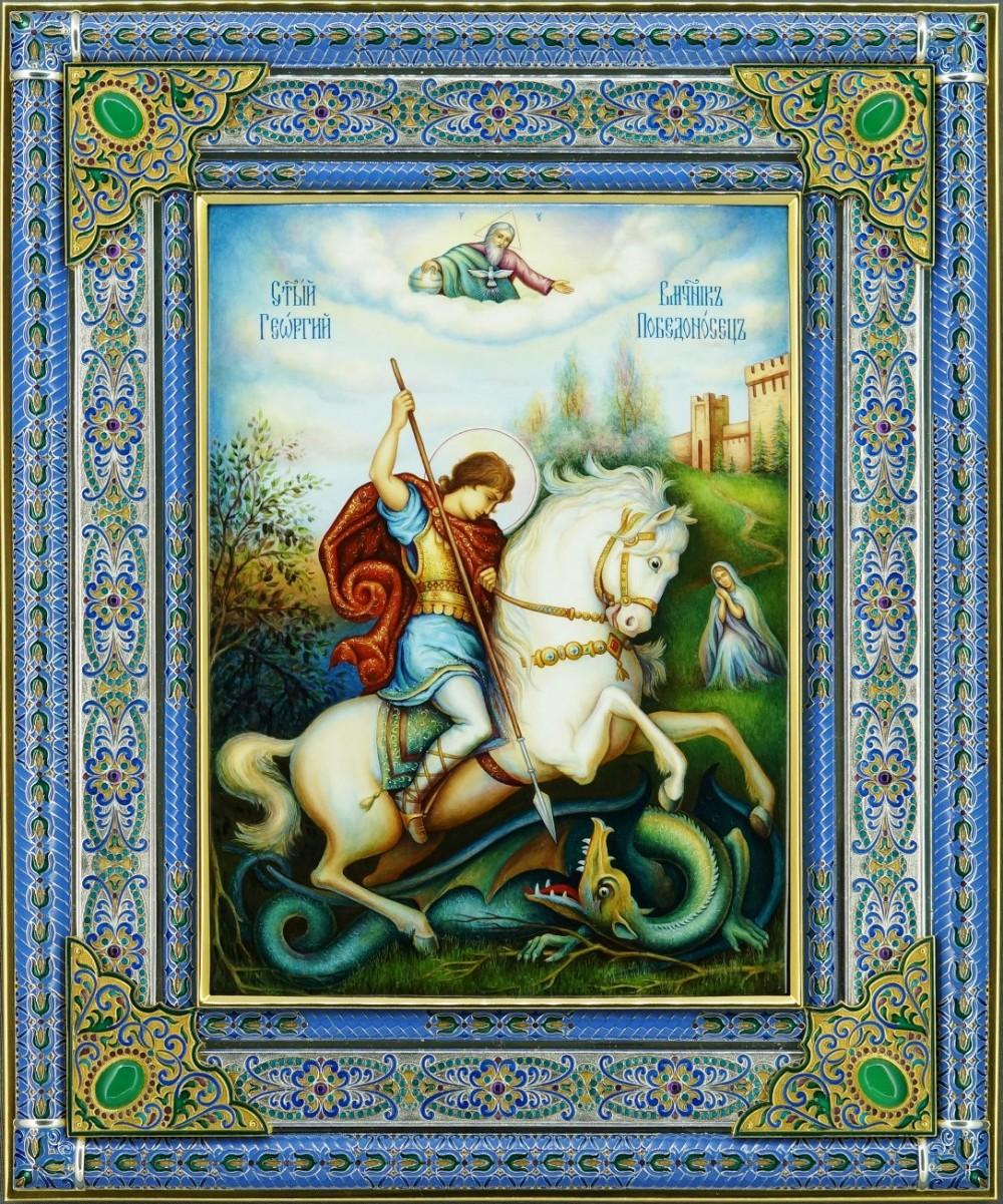 Икона с изумрудами Георгия Победоносца 34 см