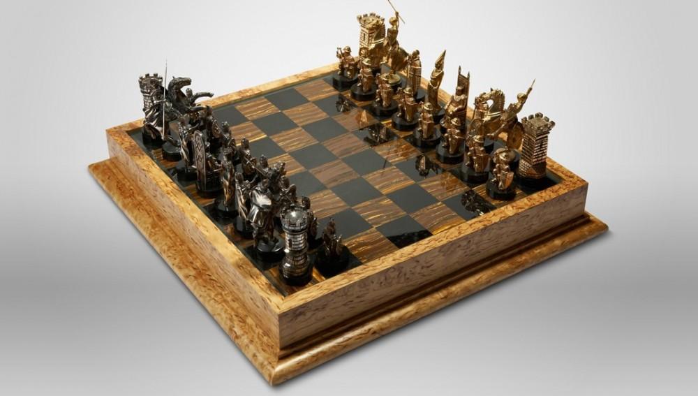 Шахматы «Рыцарские» (бронза, камень)