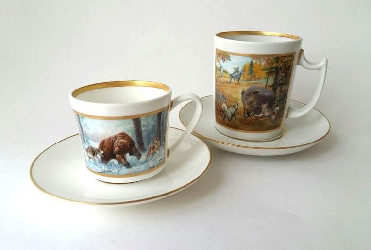 """Кофейная и чайная чашки из фарфора """"Охота"""""""
