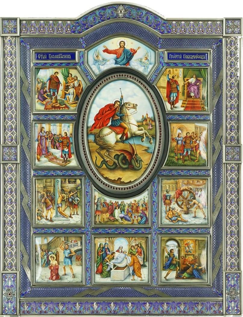 """Икона с лампадой """"Георгий Победоносец"""" (эмаль, драгоценные камни)"""