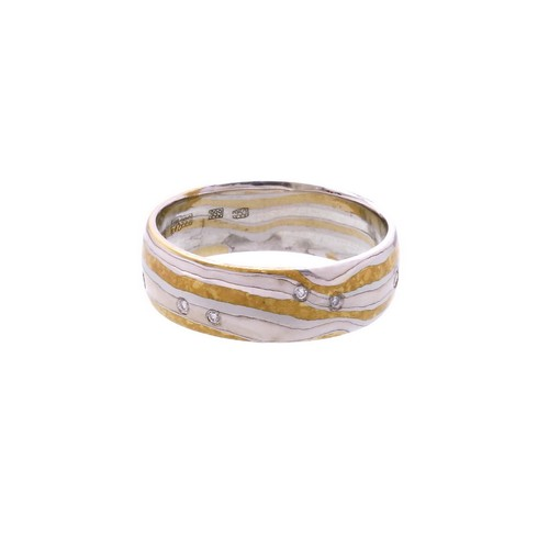 """Обручальное кольцо """"Мокуме"""" золото и палладий"""