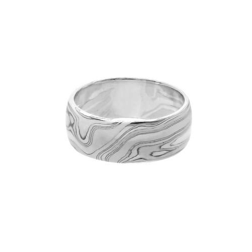 """Обручальное кольцо """"Мокуме-платина"""""""