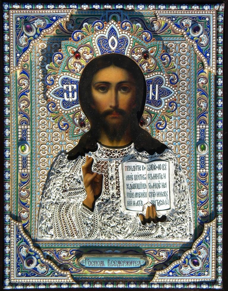 Старинная икона в ювелирном окладе