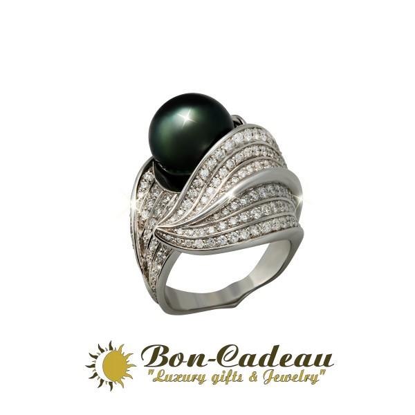 круглая жемчужина, золото и бриллианты