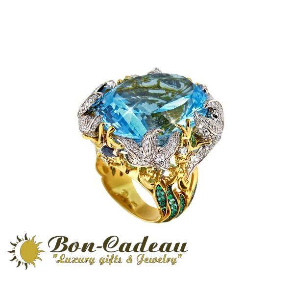 Кольцо «Тайны океана» (изумруды, бриллианты, топаз 55 ct)