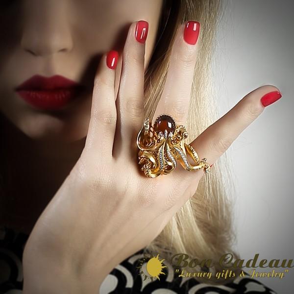 Кольцо на 2 пальца «Осьминог»