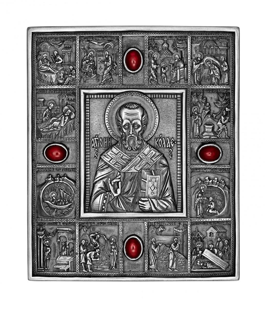 Икона малая «Николай-Чудотворец» серебро с гранатами