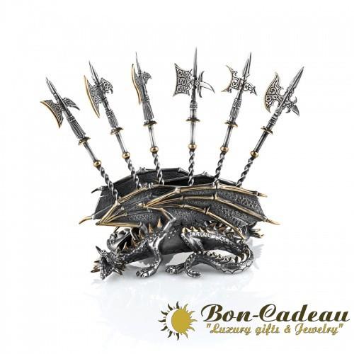 Шпажки Дракон (серебро, позолота)