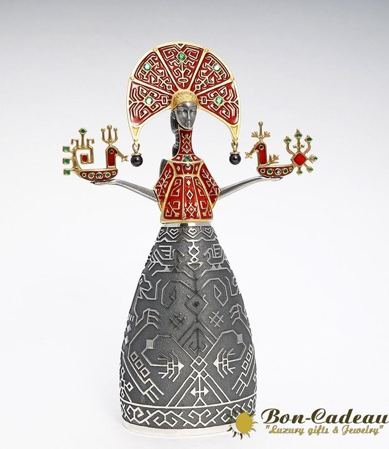 Фигурка-колокольчик Дева  (серебро, эмаль)