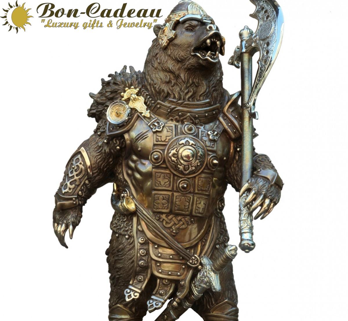 Медведь воин (бронза h=38 см)