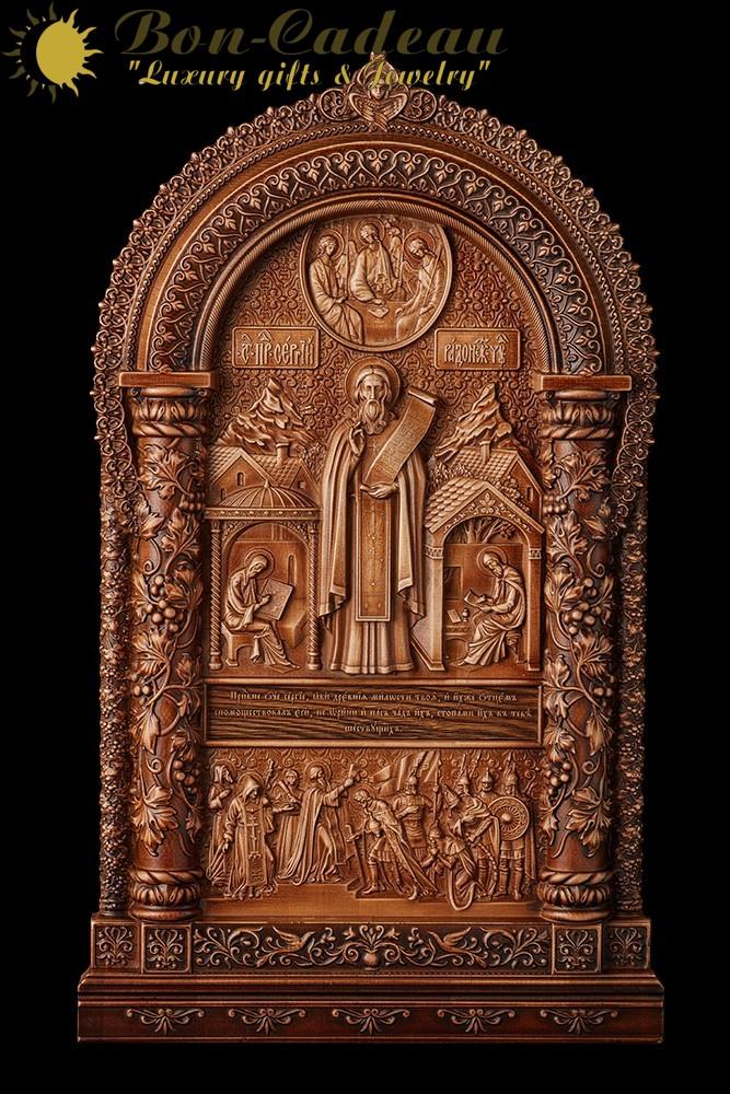 Икона из дерева Сергий Радонежский