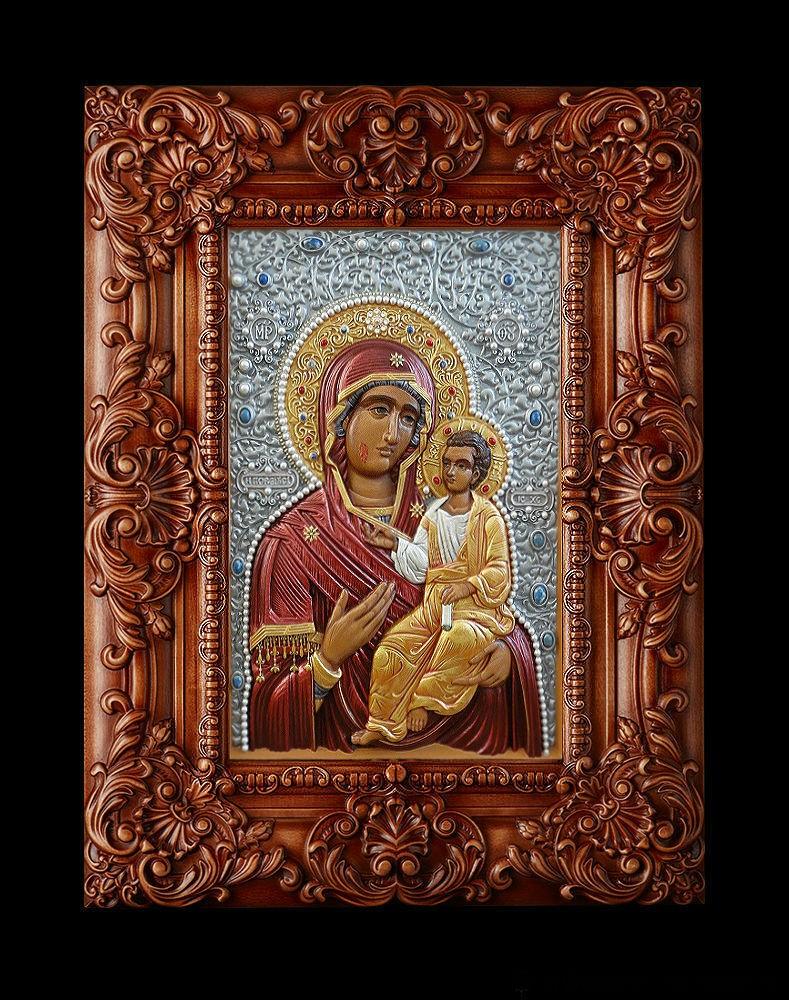 Икона резная из дерева с росписью Икона Иверская