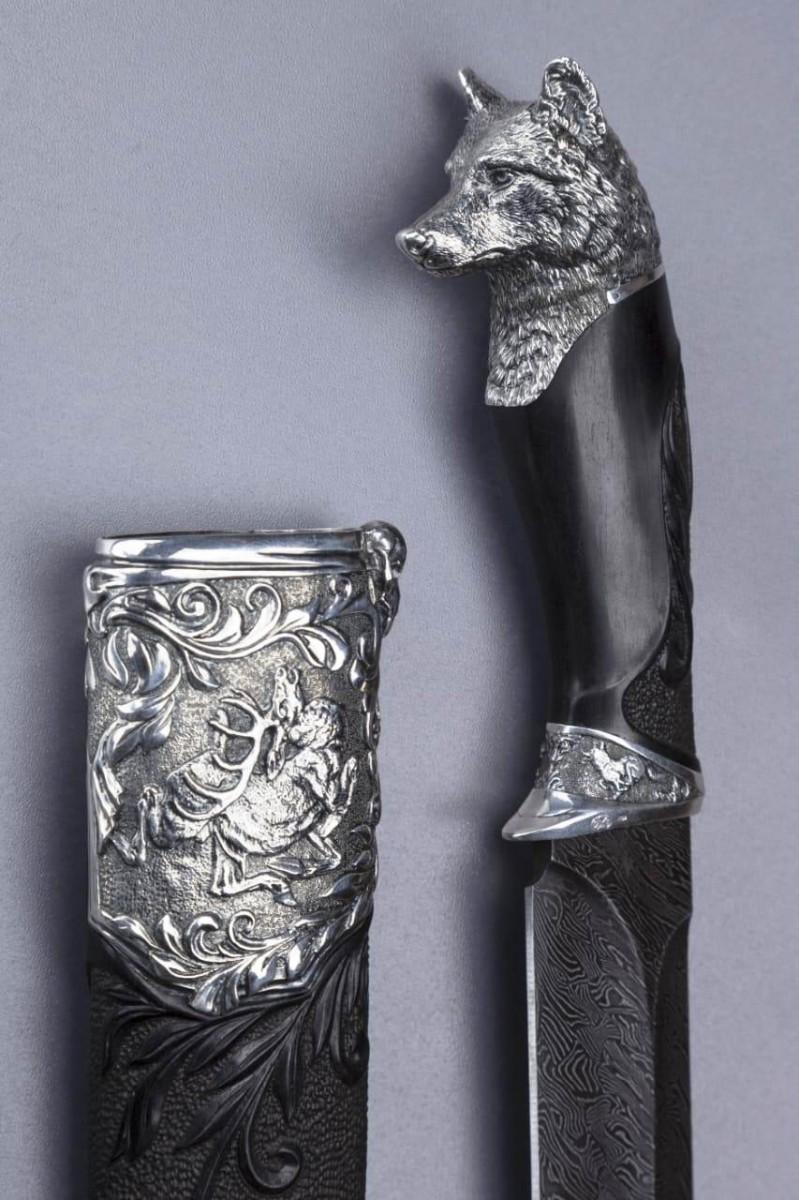 Нож Волк (дамаск, серебро)