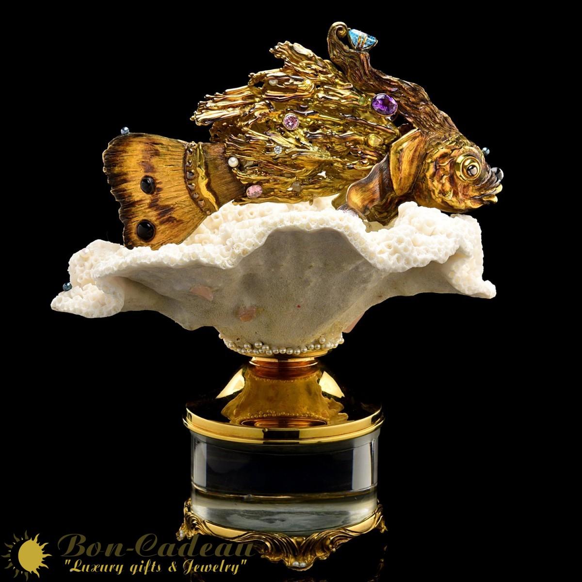 Скульптура Золотая рыбка (серебро, коралл, аметисты)