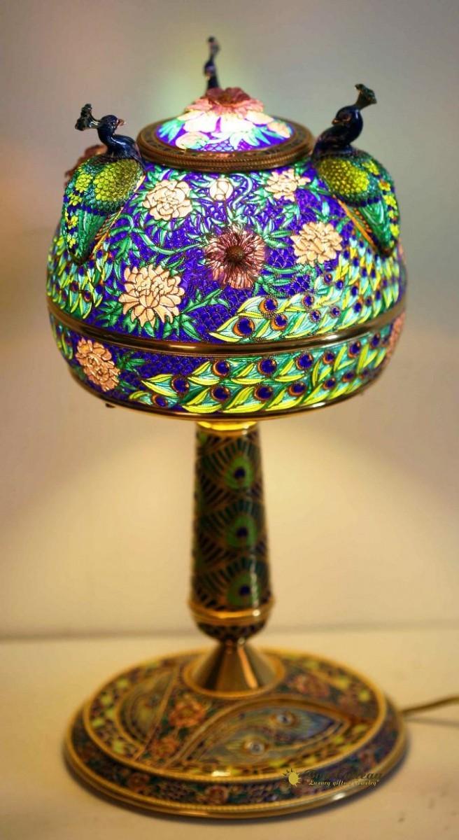 Лампа Три павлина (серебро, витражная эмаль)