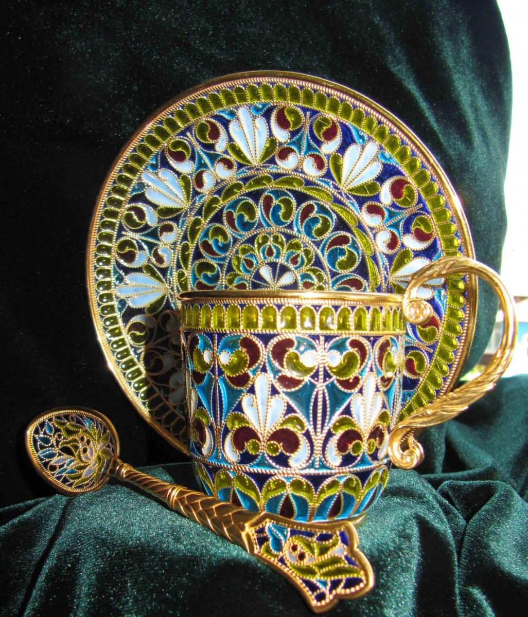Чайная пара (серебро, горячая эмаль)