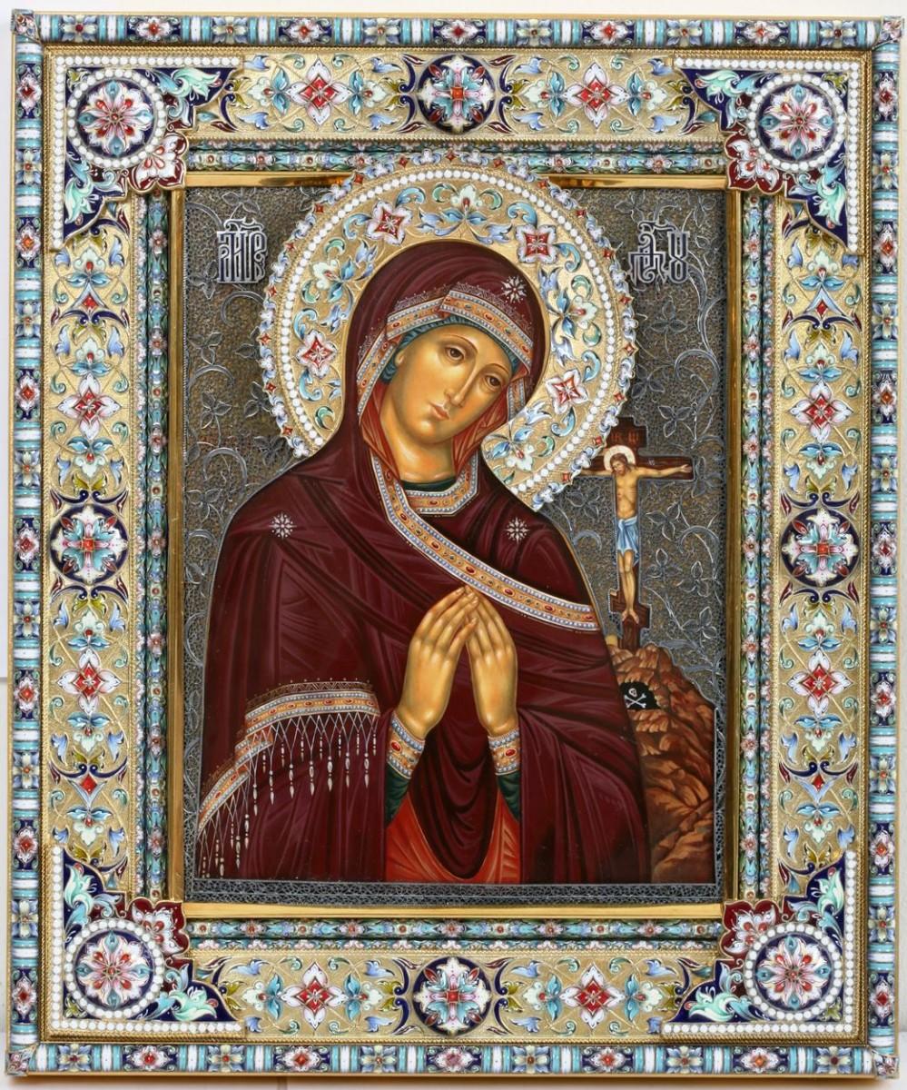 Икона Ахтырская Божья Матерь (эмаль и филигрань) 30 см