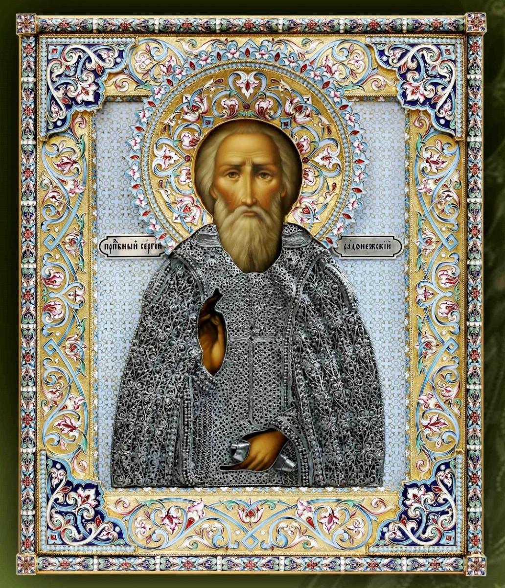 Икона Сергий Радонежский (филигрань, финифть)