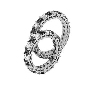 Свадебное кольцо с черными и белыми бриллиантами