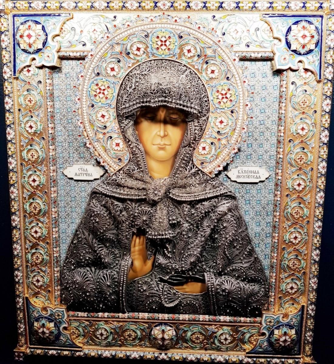 Дорогая Икона Матрона в серебряном окладе 32 см