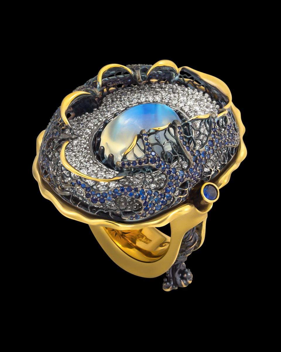 Кольцо «Хрустальный мир» (лунный камень 10 ct)