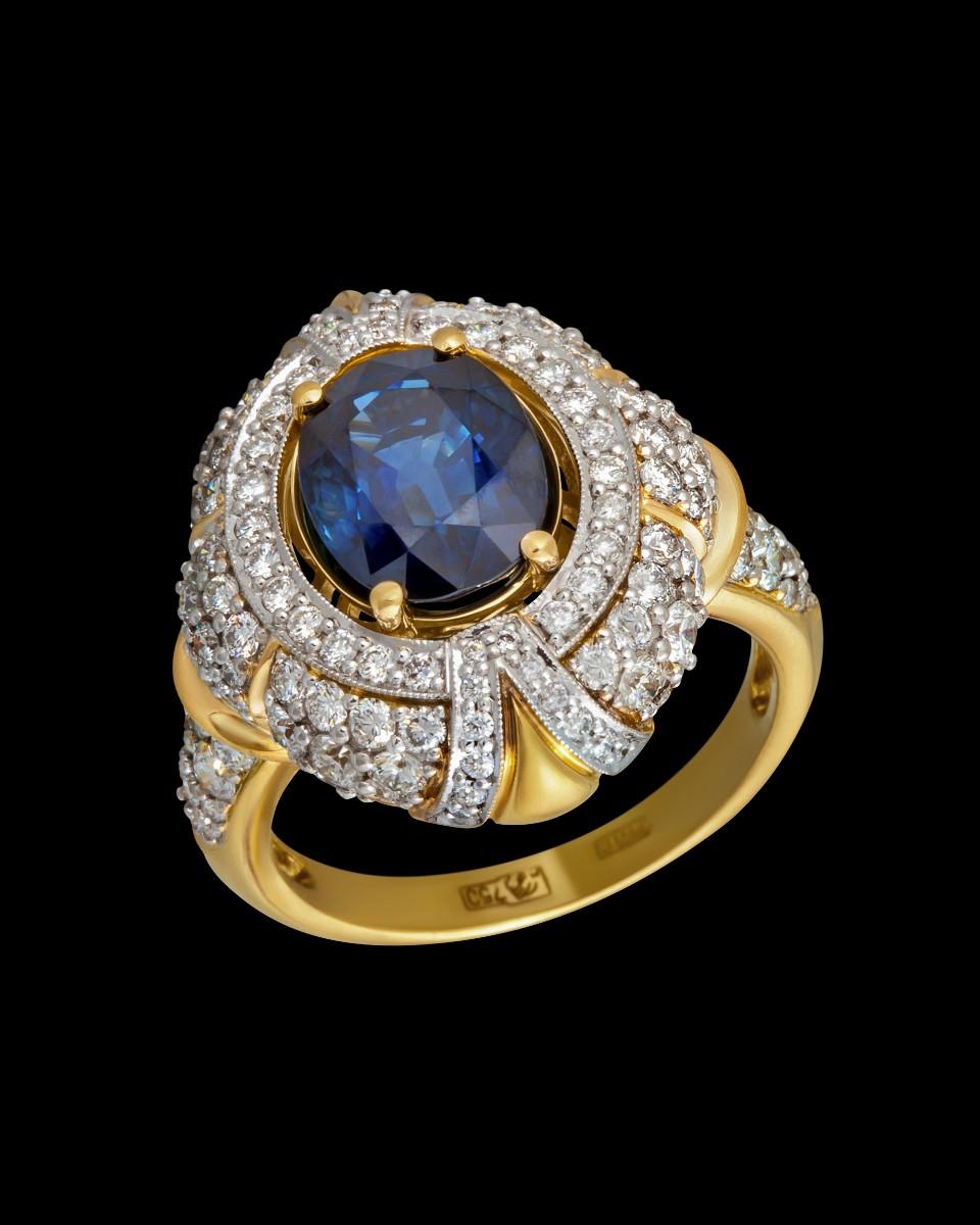 Кольцо 130 бриллиантов с сапфиром 3 ct