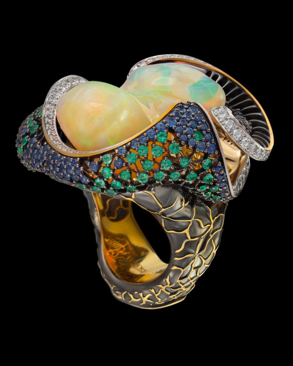 Кольцо «Око василиска» с опалом 25 ct