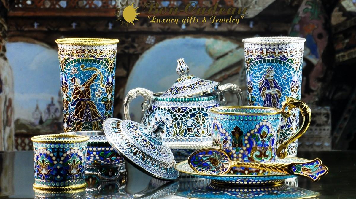 посуда из витражной эмали богатой женщине