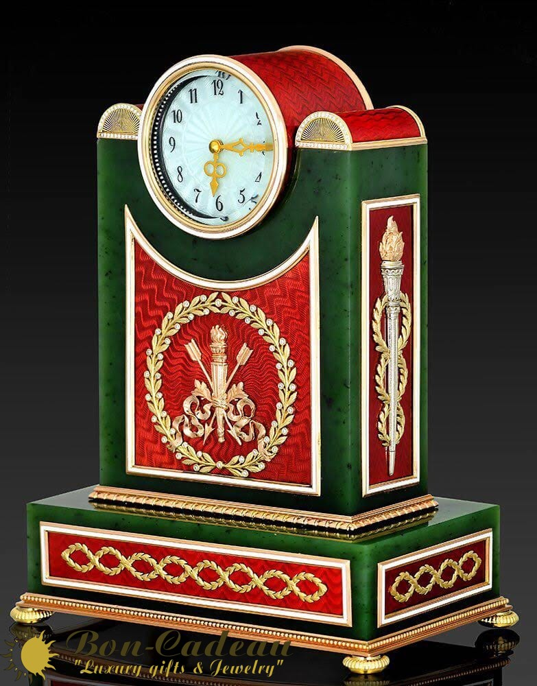 Часы с красной эмалью Фаберже