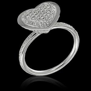 Кольцо бриллиантовое сердце