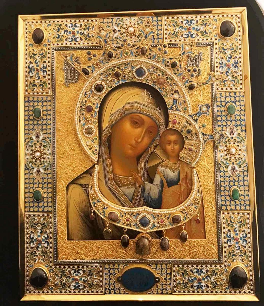 Икона Казанская Богоматерь (серебро, камни, эмаль)
