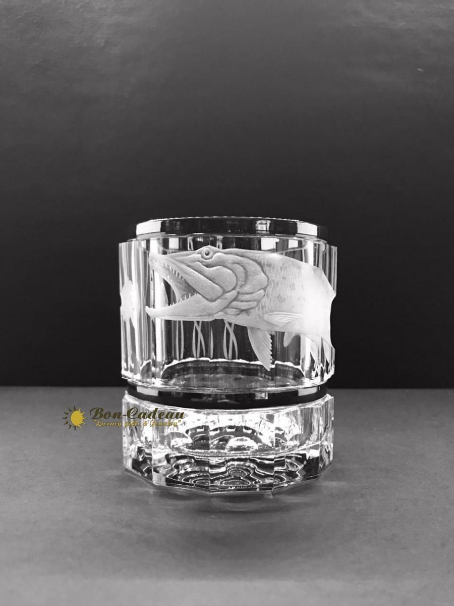 Стаканы для виски Рыбалка (хрусталь с гравировкой, платина)