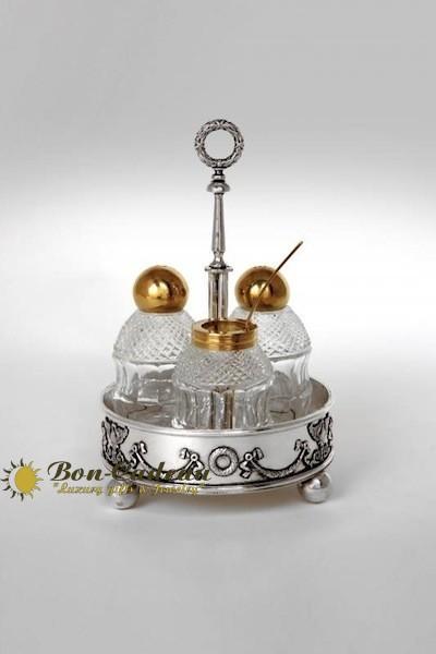 Набор для специй эскиз Фаберже (серебро, хрусталь)