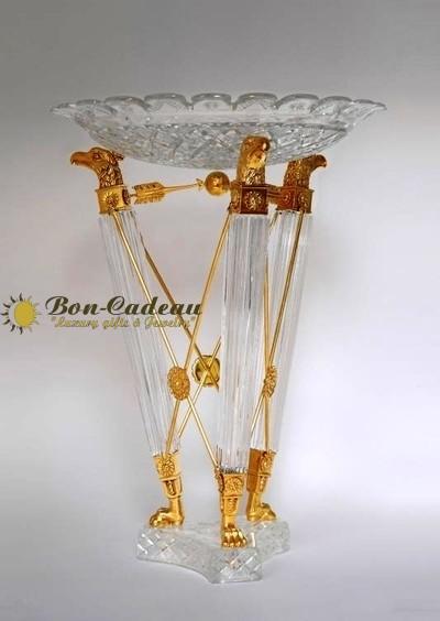 Ваза из хрусталя с золотом Орлы h=55 см