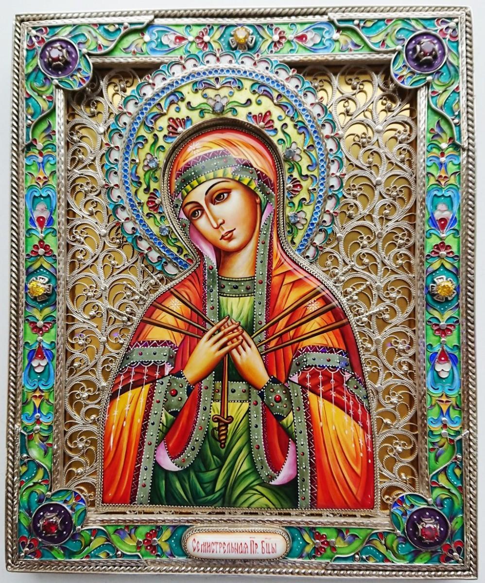 Икона Богородица Семистрельная (серебро, финифть, камни)