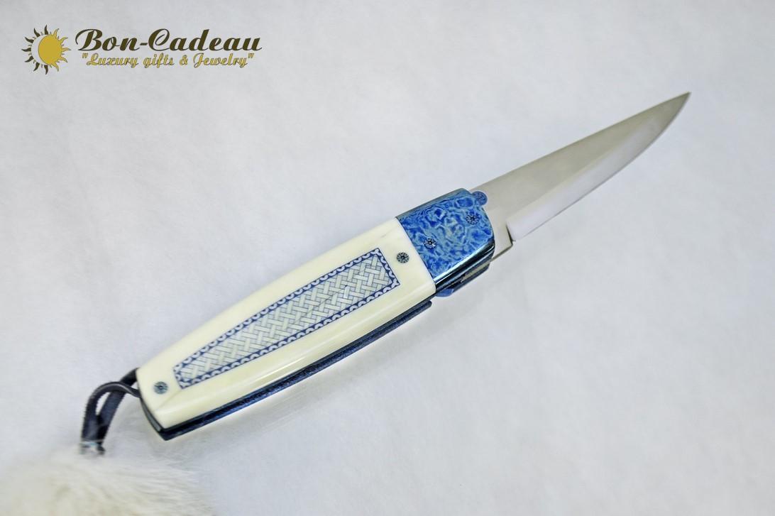 Складой нож Синий (морж, тимаскус)