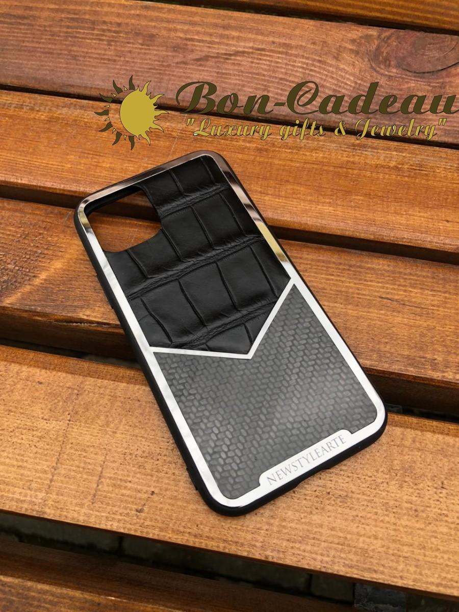 Чехол на iPhone 12 Pro крокодил-карбон
