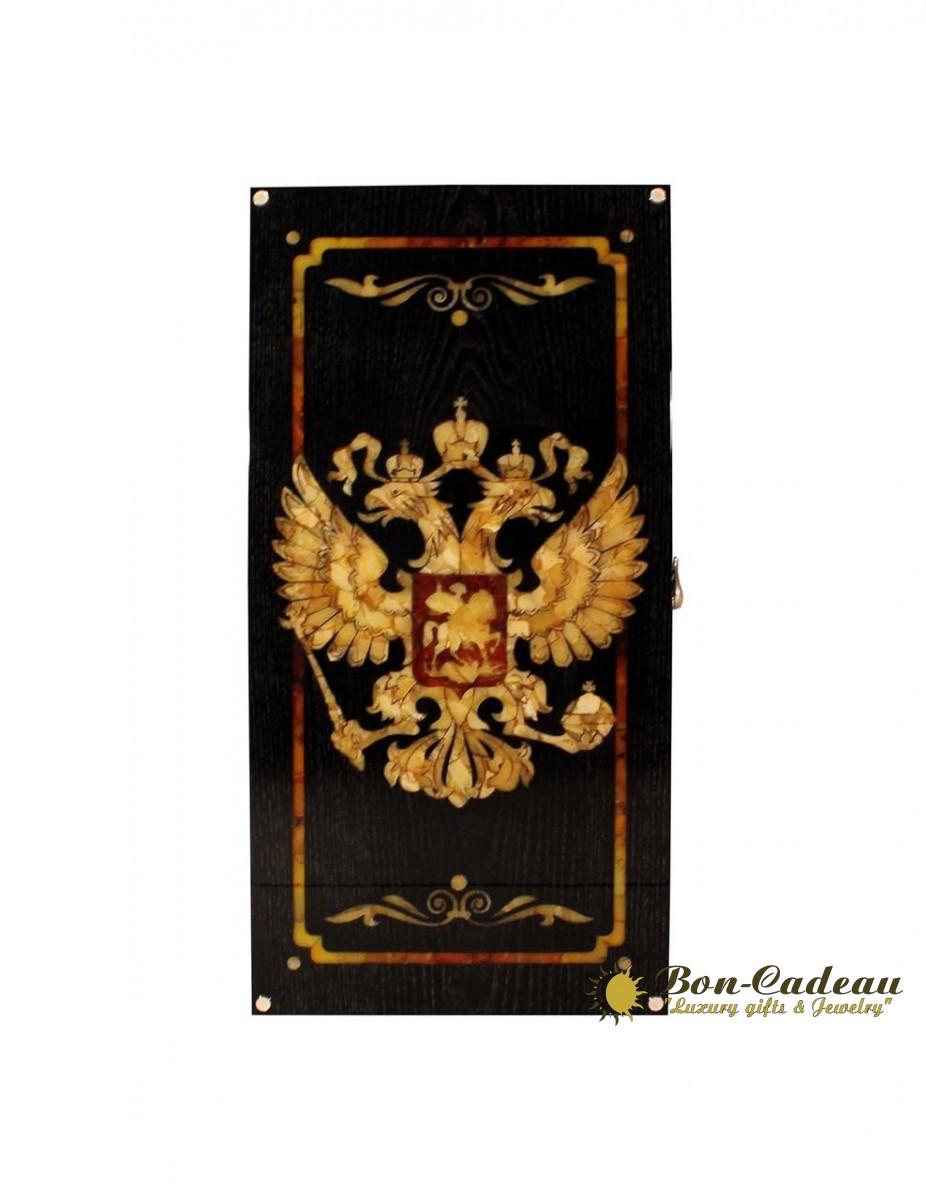 Нарды Герб России (янтарь, дуб)