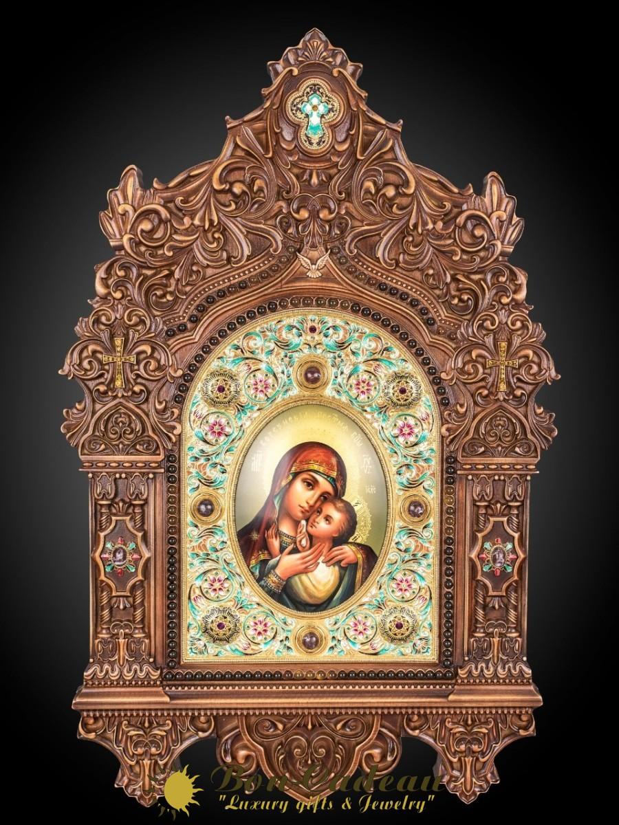 Корсунская икона Богородицы (дерево, янтарь, камни)