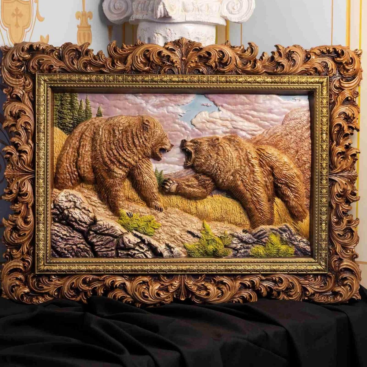 Настенное панно Два медведя (дерево,