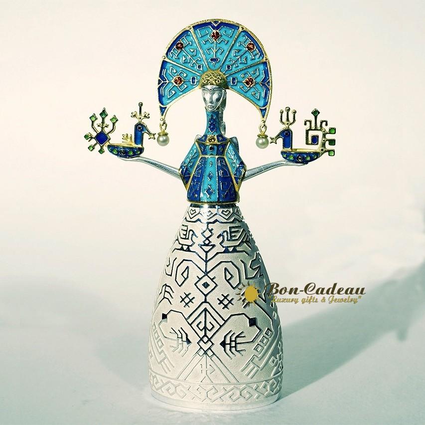 Колокольчик «Снегурочка» (серебро, эмаль, жемчуг)
