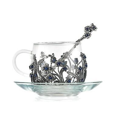 Чашка «Незабудки» (стекло, серебро)