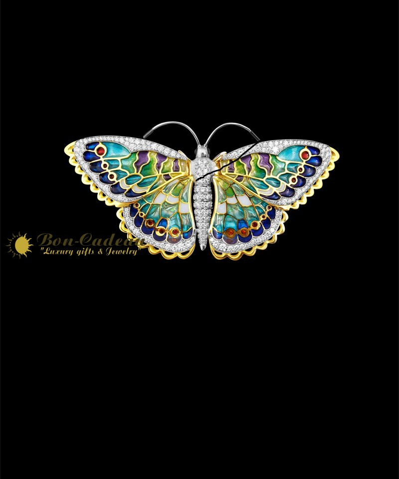 Брошь Бабочка (золото, эмаль, бриллианты)